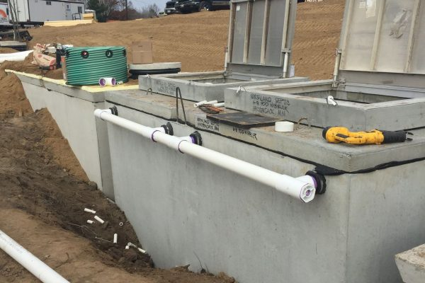 Open concrete septic tanks